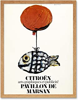 Francois Automobile Exhibition Fish Balloon Advert Art Print Framed Poster Wall Decor 12x16 inch 自動車展覧会魚バルーン広告ポスター壁デコ