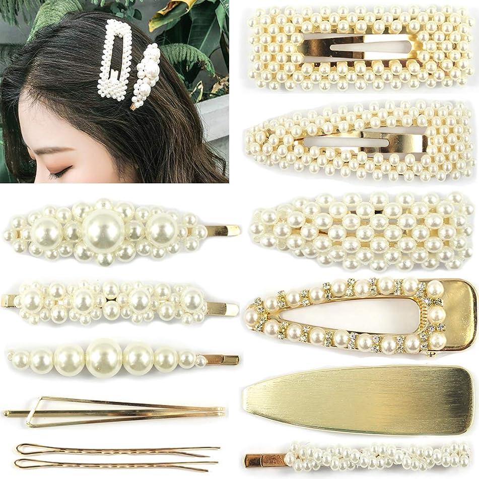 12PCS Pearls Hair Clips for Women Wedding Bridal Artificial Pearl Hairpins Handmade Bridesmaid Hair Barrettes Hair Accessories (Pearl Hairpins - Gold)