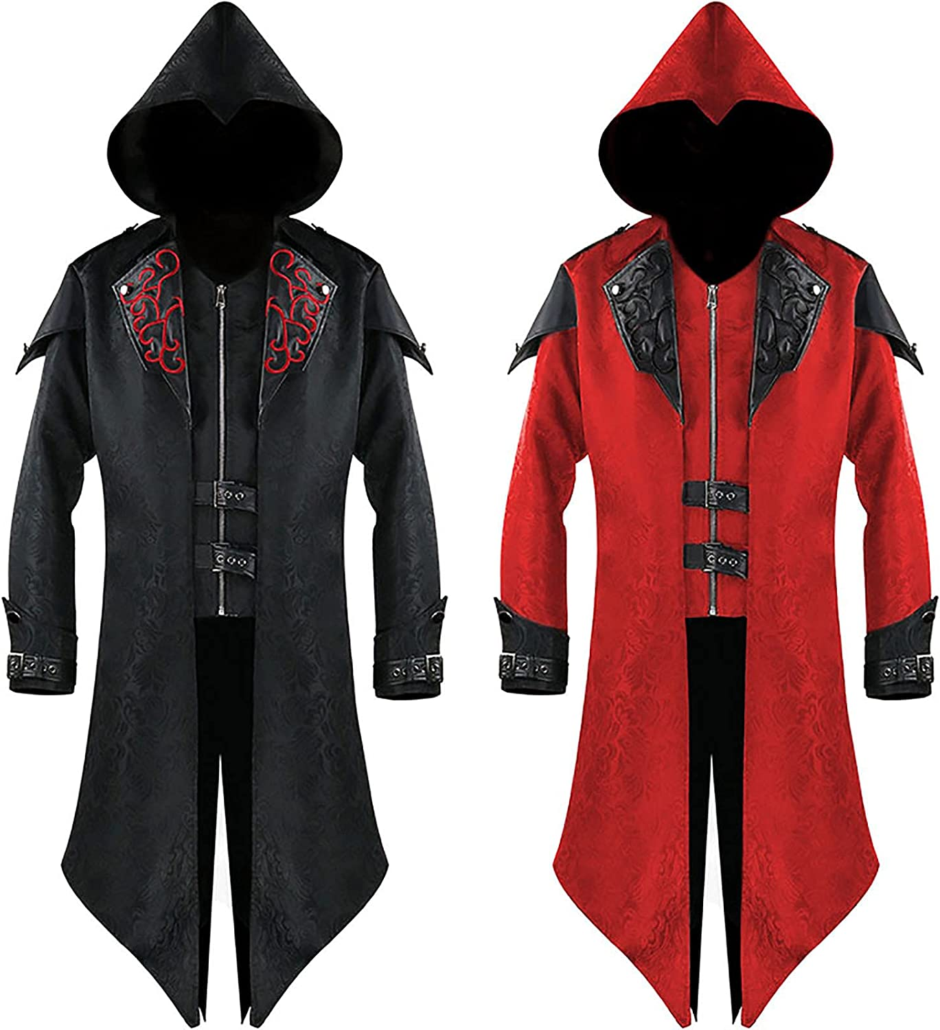 Special Campaign Men's Steampunk Gothic Hooded Leather Cosp Jacket Halloween Coat Soldering