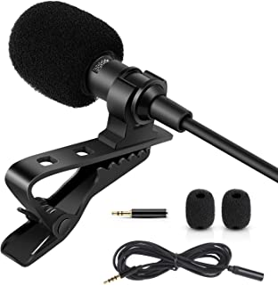Rovtop Professional Lavalier Lapel Microphone - Omnidirectional Condenser Microphone for iPhone, Android phone, DSLR Camera and Computer, Lapel Mic for Youtubers, Live Streaming, Video Recording