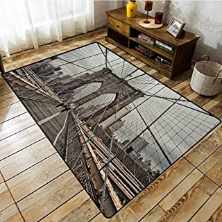 Indoor/Outdoor Rug,United States,View of Historical Famous Brooklyn Bridge and Cable Pattern NYC Architecture,Anti-Static, Water-Repellent Rugs Beige Brown