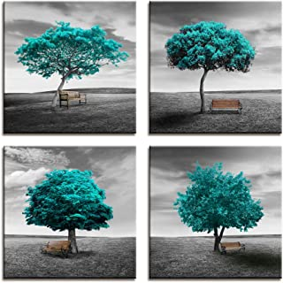 Wall Art Canvas Print Original design Pattern Aquamarine Blue Color Trees Modern Landscape Framed Wall Decor - 4 Panels Black And White style Blue Theme For Living Room Bedroom Office Decorations Gift