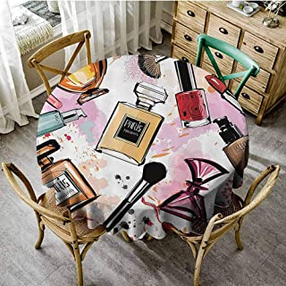 DILITECK Pad Round Tablecloth Girly Decor,Cosmetic and Make Up Theme Pattern with Perfume and Lipstick Nail Polish Brush Modern City Lady,Multi Picnic Cloth Tablecloth Diameter 54 inch