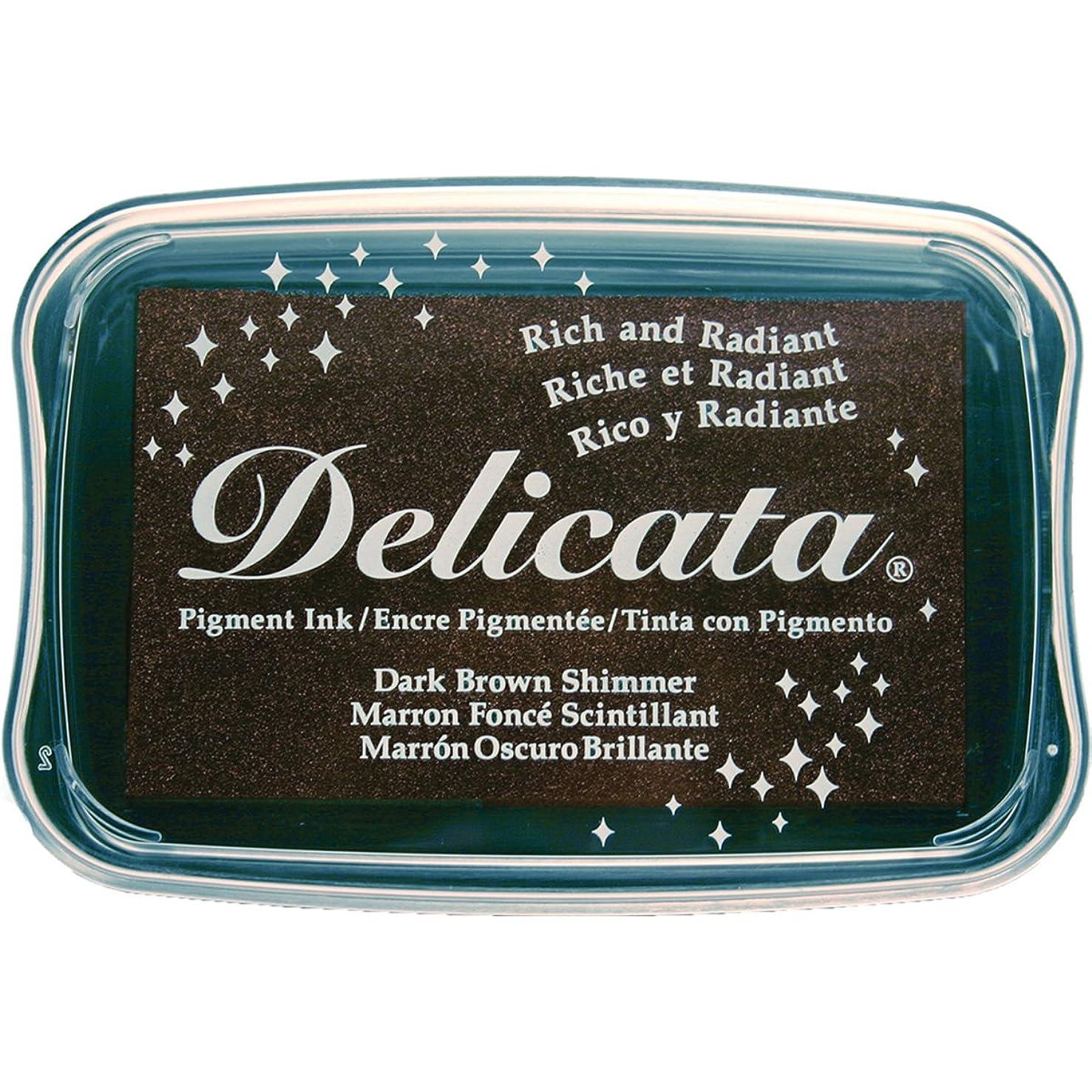 Tsukineko Delicata Dark Brown Shimmer Metallic Pigment Inkpad,
