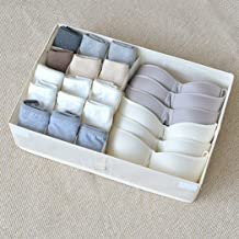 Drawer Organisers Oxford Cloth Closet Dividers Foldable Underwear Storage Boxes with Protected Lid for Bra Socks Neck Ties...