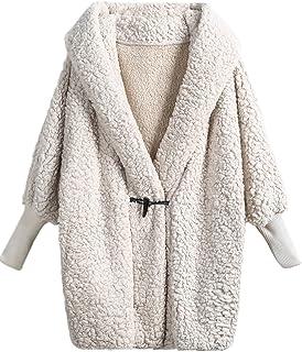 ac4263a6c SweatyRocks Women Khaki Hooded Dolman Sleeve Faux Fur Cardigan Coat for  Winter