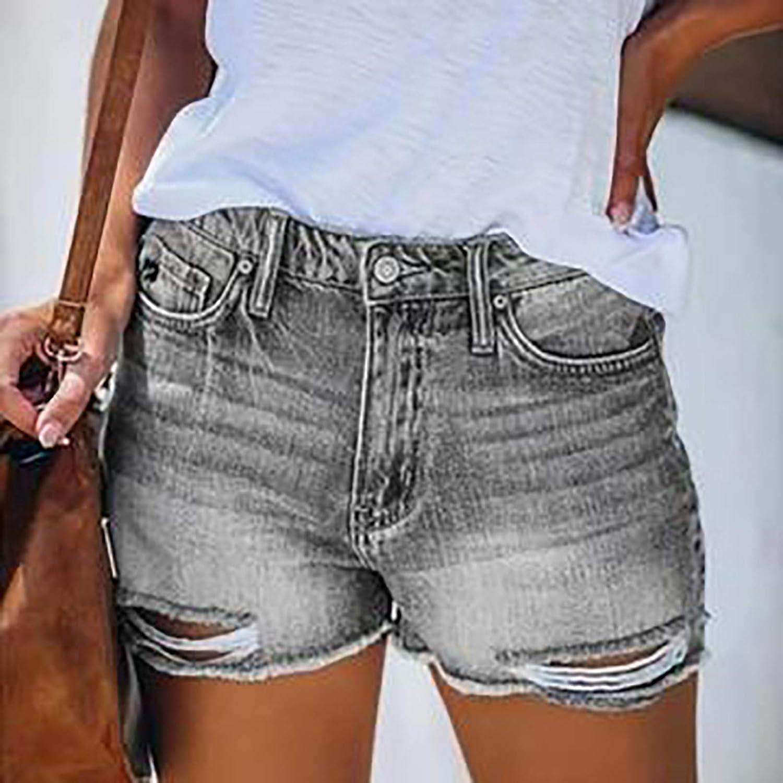 Denim Shorts for Women,Women Ripped Denim Jean Shorts Mid Rise Stretchy Slim Fit Bermuda Summer Shorts Hot Pant