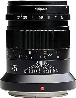 KIPON Elegant 75mm F2.4 Full Frame Lenses for Canon EOS R Mount Mirorless Camera (Black)