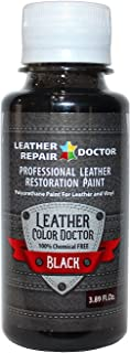 Professional Black Leather Paint For Touch-Up, Recoloring and Restoration - Shoes, Jacket, Purse, Belt, Couch Chair, Sofa, Motorcycle and Car Seat