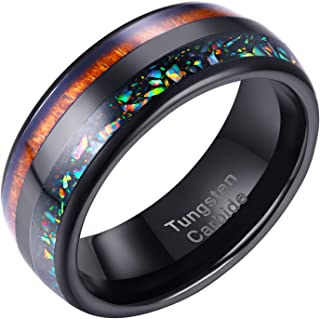 Wuziwen Tungsten Carbide Wedding Ring Nature Wood & Colorful Opal Inlaid Engagement Bands Size 9-12
