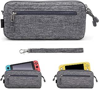 Sisma スリムケース Nintendo Switch / Switch Lite用本体収納ポーチ 軽量 オックスフォード生地素材 ソフトポーチ (グレー)