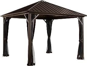 Sojag 8' x 8' Dakota Hardtop Gazebo Outdoor Sun Shelter, Black, Brown