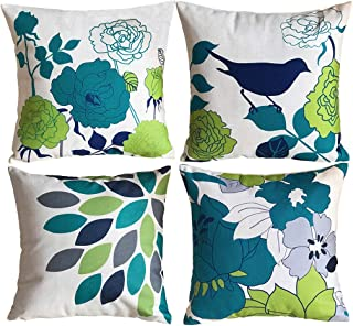 Sykting Decorative Pillow Covers Farmhouse Burlap Cotton Linen Pillow Covers 18x18 inch Set of 4 for Sofa Couch Bed Chair Birds Flowers Series