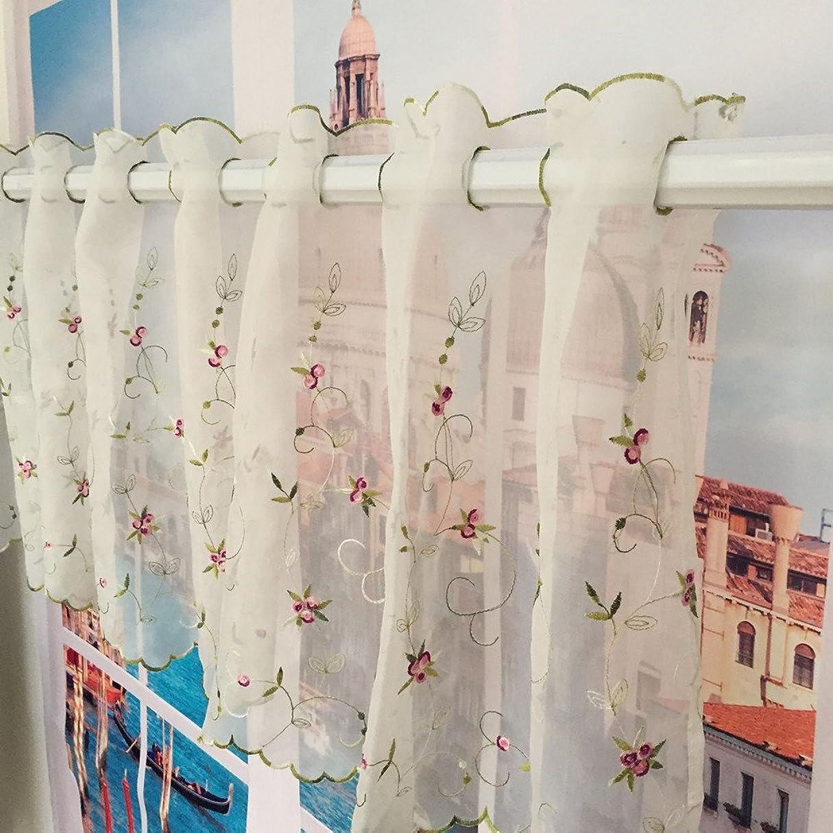 ニンニクアドバンテージ抵抗ZHH国スタイルバランスフローラル刺繍薄手レースカフェカーテン、葉のパターン、花、ホワイト幅150cm×丈60cm