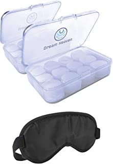 Dream Heaven 2 Pack Noise Cancelling Ear Plugs & Sleep Mask – Soft Moldable Silicone Ear Plugs for Sleep - Sound Blocking 32 DB Custom Molded Ear Plugs for Sleeping, Swimming, Snoring, Concerts,Travel