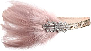 BABEYOND 1920s Flapper Headpiece Roaring 20s Feather Headband Gatsby Accessories