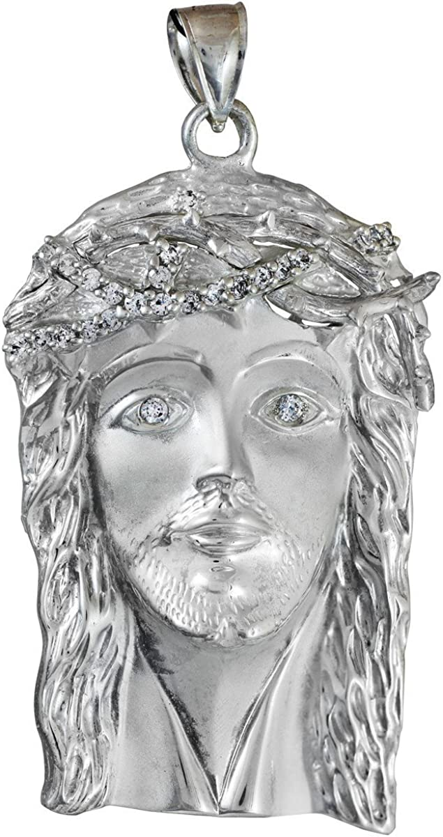 online shop Religious Jewelry by FDJ 925 Iced-Out Jesus Silver Face Dealing full price reduction Sterling