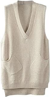 Gordon Q Women's Casual Deep V-Neck Knit Cotton Long Vest