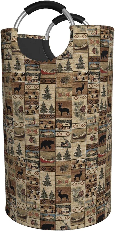 pengyong 激安特価品 ギフト 82l Large Laundry Basket Moose Deer Lodge Rustic Bear