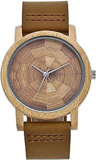 ساعة خشب الخيزران للرجال من GoolRC مع حزام جلدي تناظرية خفيفة الوزن من الكوارتز ساعات اليد عارضة مجموعة عشاق ساعات المعصم