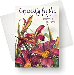 Northern Cards - Birthday Card - Birthday Lilies by Arlene Saunders (Especially for You on Your Birthday) - Large