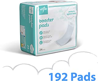 Medline Booster Pads with Adhesive, 192 Count, Baby Diaper Doubler for Overnight Use to Help Eliminate Leaks