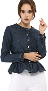 Allegra K Women's Peplum Denim Jackets Collarless Round Neck Button Down Cropped Ruffle Hem Coat