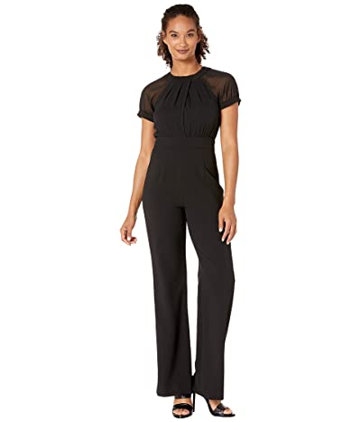 Vince Camuto Jewel Neck Cap Sleeves Jumpsuit (Black) Women