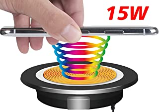 """EDL-18 Wireless Charger, Fast Charging, Embedded on Desk, fit Standard-Sized Grommet Hole(2.36""""). Easy to Install. 10W/7.5W/5W Fast Charging for Qi Enabled Phones& Devices. (Black)"""