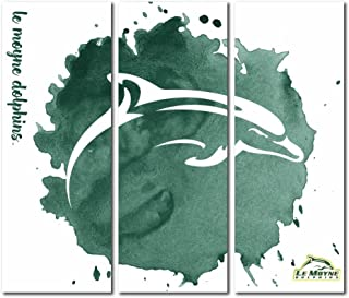 Victory Tailgate Le Moyne College Dolphins Triptych Canvas Wall Art Watercolor (48x54 inches)