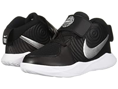 Nike Kids Team Hustle D 9 (Infant/Toddler) (Black/Metallic Silver/Wolf Grey/White) Kids Shoes