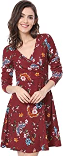 Women's Long Sleeve Floral Birds Print V Neck Wrap Swing Mini Dress