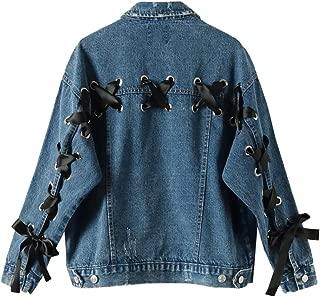 carmonoudi Lace-Up Bomber Jacket Women Srteetwear Casaco Feminino Long Sleeve Denim Jaquetas