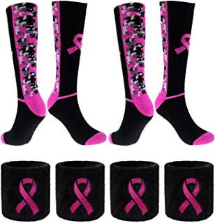 Breast Cancer Awareness Pink Ribbon Socks & Wristbands Set - 2 Pairs Athletic Digital Camo Crew Socks+ 4 Pcs Wrist Sweatbands