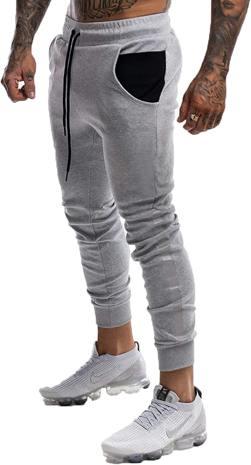 YKB Men's Gym Jogger Pants Slim Fit Workout Running Tapered Sweatpants Athletic Joggers Pant for Men with Side Stripes: Clothing