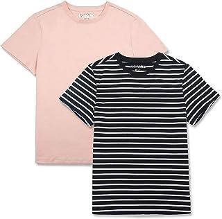 JIAHONG Unisex Kids 2-Pack Soft Premium Cotton T Shirts Basic Short Sleeve Crewneck Tee Shirts for Boys and Girls 3-12 Years