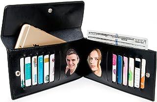[ヤラックス]Yaluxe レディース 本革 通勤 薄型 カードケース 財布 二つ折り ウォレット スマホ対応