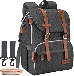 Diaper Bag Backpack, CANWAY Multifunction Travel Nappy Diaper Bag Maternity Baby Bag Unisex with Changing Pad and Stroller...
