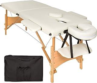 TecTake Mobile Massageliege 2 Zonen höhenverstellbar inkl. hochwertiger Kopfstütze + Tasche - diverse Farben - (Beige | N...