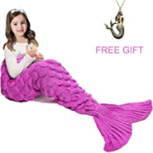 JR.WHITE Mermaid Tail Blanket for Kids, Hand Crochet Snuggle Mermaid,All Seasons Seatail Sleeping Bag Blanket (Pink)