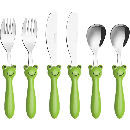 Exzact Childrens Flatware/Kid Silverware Set 6 Pieces Stainless Steel - 2 x Children Safe Forks, 2 x Safe Table Knife, 2 x Tablespoons, Toddler Utensils for Lunch Box BPA Free (Frog)