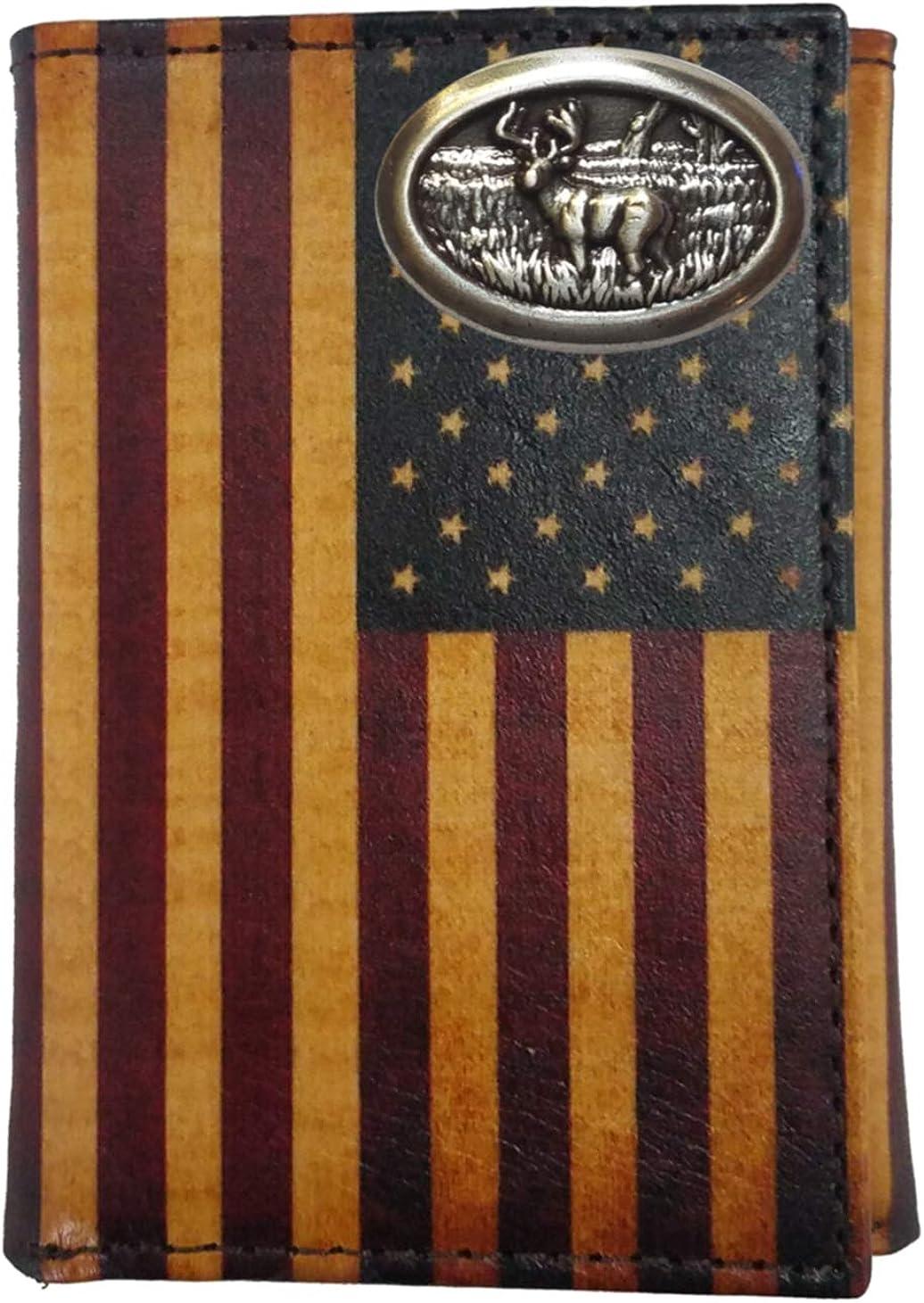 Custom Buck Dallas Mall Deer Nocona Bargain Classic Wallet Flag Trifold US