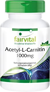 Acetil-L-carnitina 1000mg - per 2 mesi - VEGAN - alto dosaggio - 60 capsule - ALC