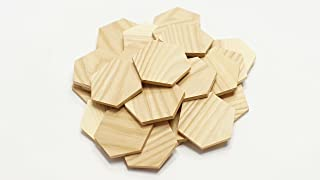 "3"" Wood Hexagon Cutout Shapes Unfinished Wood Mosaic Tile - 30 pcs"
