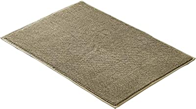 The Urban Port Salzburg Fabric Reversible Bath Rug with Quick Drying Loops, Brown