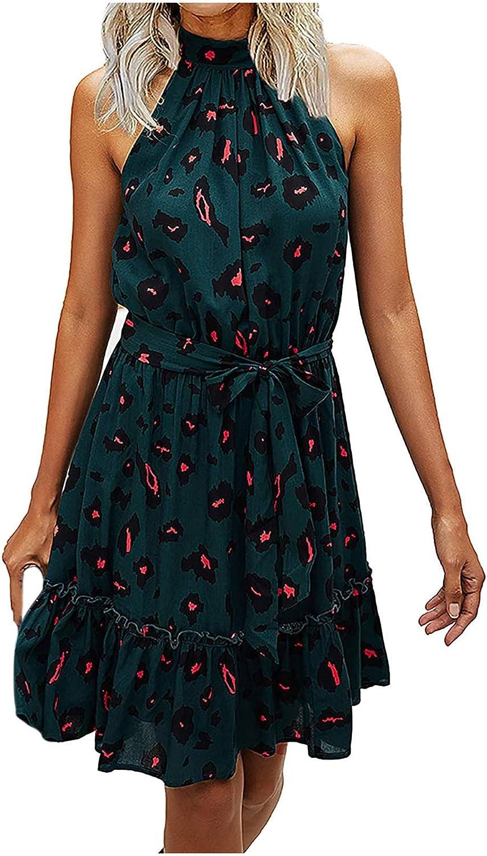 POTO Summer Dresses for Women,Women's Sexy Halter Cocktail Party Dot Print Ruffle Short Mini Dress A Line Dress Black