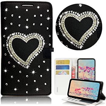 STENES Bling Wallet Phone Case Compatible with Samsung Galaxy A10e - Stylish - 3D Handmade Heart Design Leather Cover with Screen Protector & Neck Strap Lanyard - Black