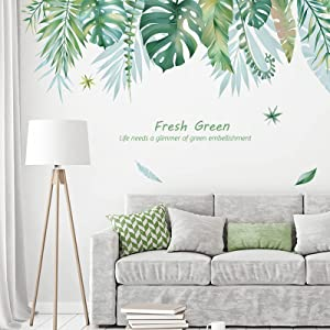 KIDSKY Palm Tree Leaves Wall Decals Green Leaf Room Decor Wall Stickers Waterproof Tropical Wall Decal Plants Wall Stickers Decals for Living Room Bedroom Home Door Decor
