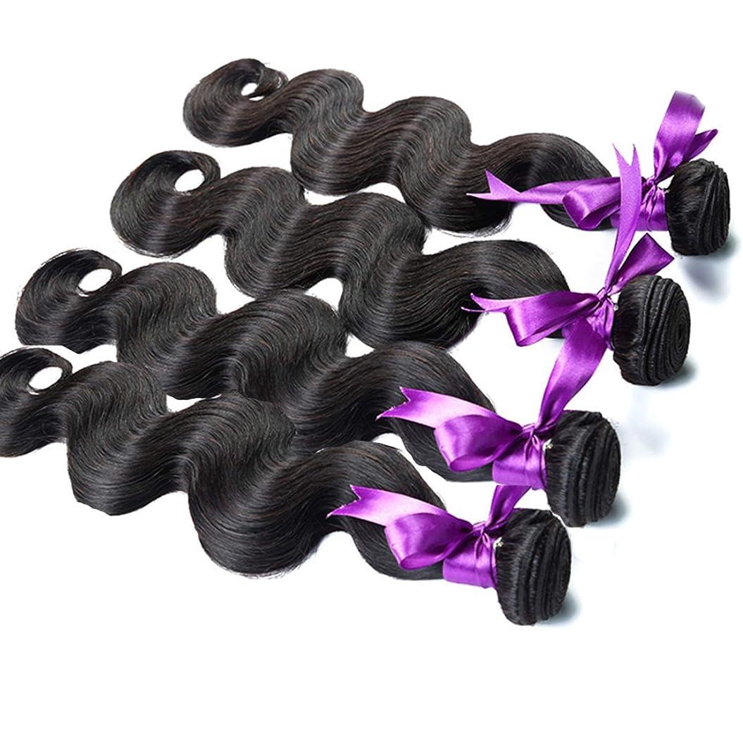ペッカディロボーカルラッカスヘアエクステンションヘア織り実体波ヘアバンドル8aグレード人間の髪織りナチュラルカラー非レミーヘアエクステンション12-28インチ4バンドル かつら (Stretched Length : 20 22 24 26 inches)
