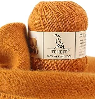 100% laine mérinos Pour Tricoter, TEHETE Fil à crochet et tricoter, 50g 3 Plis 10 Couleurs, Chaud Doux pour Couverture, C...